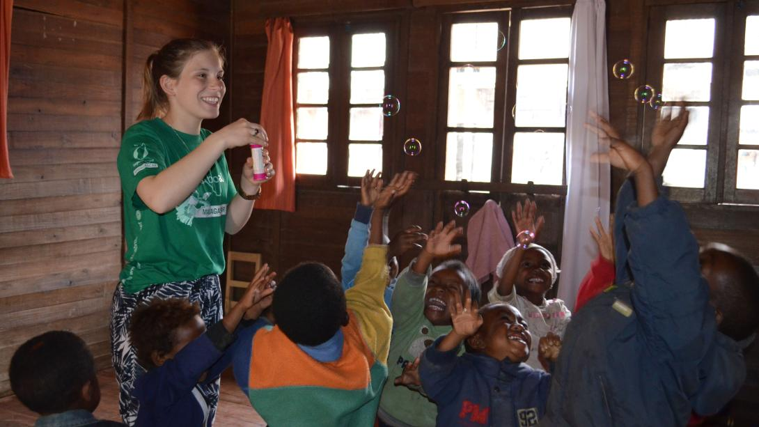Projects Abroad volunteer in Madagascar after fundraising for her project.